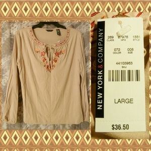 New York & Company Khaki Embroidered Knit Top Lrg